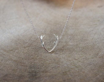 Sterling silver Antler Necklace, Reindeer necklace, Silver Necklace, Layered Necklace, Christmas gift, Boho, Bohemian, simple necklace