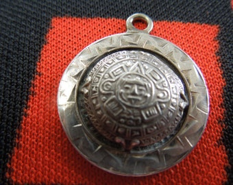 Sterling Mayan Aztec Sun Calendar Charm Sterling Silver Charm for Bracelet from Charmhuntress 03999
