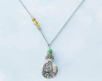 Silver King Medieval Turquoise Asymmetrical Pendant Necklace with Antique Silver Chain