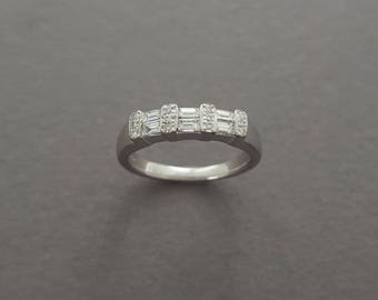 Vintage 14K White Gold, Mixed Diamond Baguette and Round Cut Ring - Wedding / Anniversary Band