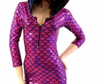 Fuchsia Mermaid Dragon Scale 3/4 Sleeve Zipper Front Hoodie Bodycon Dress w/Black on Black Shattered Glass Hood Liner 154357