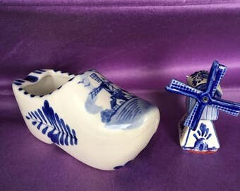 Dutch figurine  blue delft collector set of a shoe ashtray clog and a miniature windmill hand painted souvenir of Holland