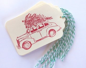 Vintage Car with Pine Tree Tag Set 8 Blank holiday gift present tag christmas party