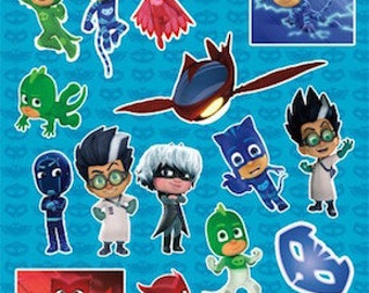 4 Sheets PJ Masks Stickers Party Favors Supplies Invitation Envelope Seals - Teacher Supply - Amaya - Connor - Greg
