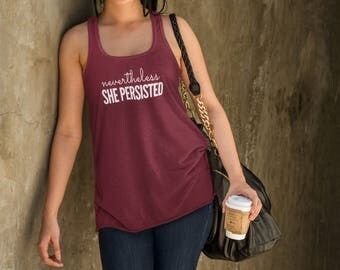 "Feminist Tank: ""Nevertheless She Persisted"" racerback (multiple colors) by Fourth Wave feminist apparel, handmade, super soft, great gift!"