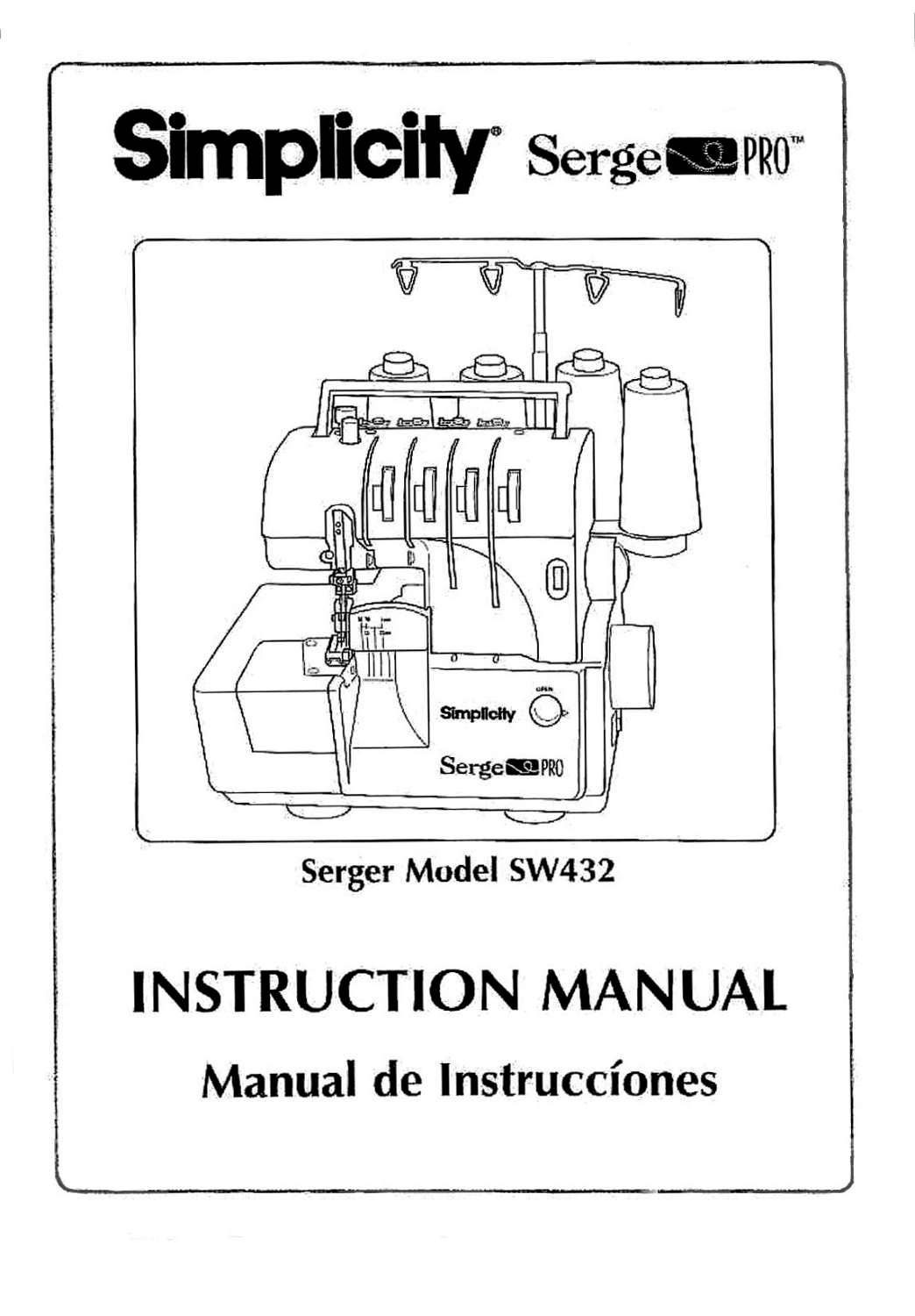 SIMPLICITY SW432 Serger / Serge PRO Instruction / Operating manual ...