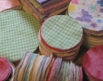 "Over 350 flannel die cut circles in different sizes. These measure 4-1/2"", 3-1/2"", 2-1/2"", 2"", and 1-1/2"".  Great for quilting and crafts."