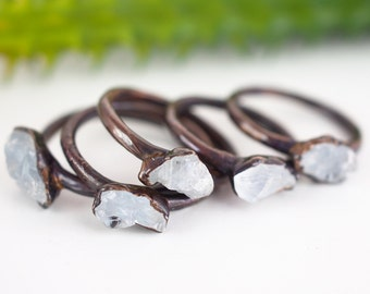 Electroformed Celestite ring Crystal ring Gemstone ring Raw crystal ring Mineral ring Copper ring Natural stone ring Raw stone ring bohemian