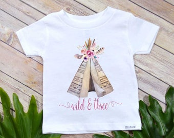 Wild and Three, Third Birthday, Girl Birthday shirt, Boho Party, Girl Birthday Shirt, Wild and Three Birthday shirt, Birthday Girl Gift,