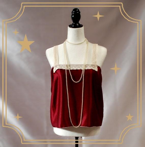 1920s Style Lingerie Cranberry Red 1920s Style Flapper Cami OOAK $26.71 AT vintagedancer.com