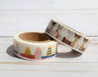 Llama Washi Tape, Sombrero Craft Tape, Planner Stickers, Craft Paper Tape, Decorative Craft Tape, Scrapbook Embellishment, Gift Wrap Tape