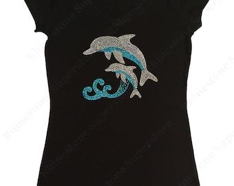 "Women's Rhinestone T-Shirt "" Dolphins Jumping in Ocean "" in S, M, L, 1X, 2X, 3X"
