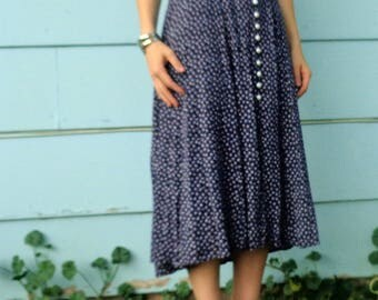 Vintage 90s Maxi Dress Mid Length Blue Floral Button down Womens Size Small