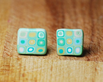 Gift For Girlfriend - Square Stud Earrings - Mosaic Earrings - Everyday Earrings - Handmade Earrings - Polymer Clay Jewellery - Modern