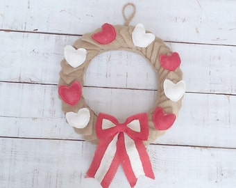 Valentine Wreath - Burlap Heart Wreath - Valentine Heart Wreath - Door Hanger - Wedding Wreath - Burlap Wreath