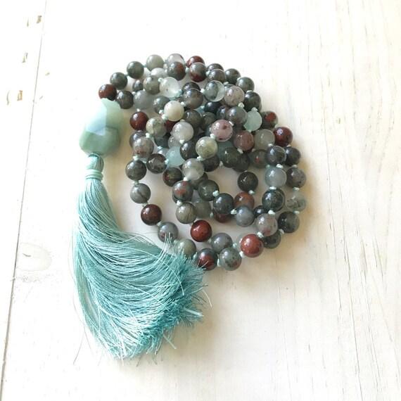 Bloodstone Mala Beads, Root Chakra Mala, Mala For Courage, Hand Knotted 108 Bead Mala, Mantra Meditation Mala, Natural Chakra Healing Mala