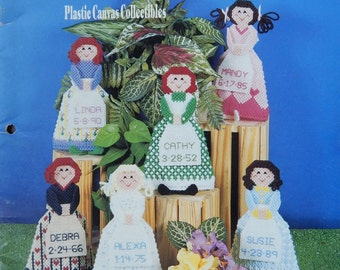 Dolls Of The Months Plastic Canvas Pattern By Sue Penrod/ Calendar Ornaments With Name & Date