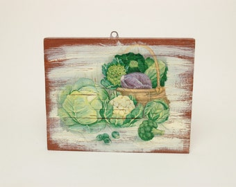 Kitchen Wall Print, Culinary Wall Decor, Food Art, Kitchen Art, Culinary Print on Wood, Vegetables Wall Art