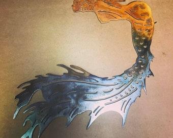 Mermaid Metal Wall Art/Metal Wall Decor/Beach Decor/Plasma Cut Metal Art