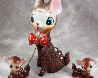1950s JAPAN ARNART Salt Glaze Mama Deer and Babies - Ceramic Trio - Big Eared Big Eyed with Chains