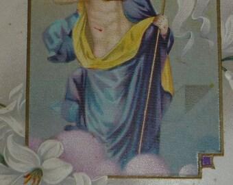Jesus, Cross and Easter Lilies Antique Postcard Unused