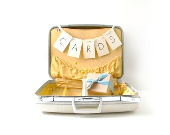 Vintage Yellow & White Suitcase/ Wedding Card Holder