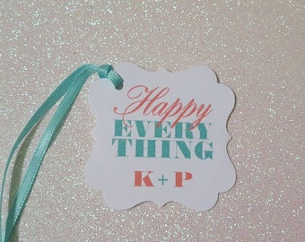 HAPPY EVERYTHING Favor Tags *MODERN Coral & Mint Green Wedding Tags *Wine Favor Tags *2inch Flourish Square *Custom Colors / Personalized