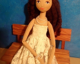 Brown hair blue eye doll, art doll, rag doll, fabric doll, cloth doll, handmade doll, custom doll, embroidered face, Ragsoul