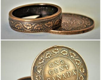Brown Ring, Coin Ring, Vine Ring, Copper Ring, Canadian Penny, Coin Rings, Coin Art,  Floral Ring, Gift for Her, Unique Ring, Ring For Him