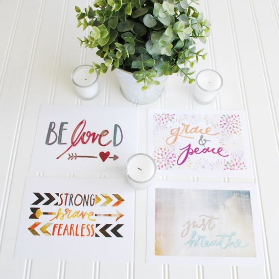 "5x7"" Handlettered Inspirational Prints Catholic Christian Scripture Quotes For the Home"
