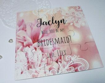 Blush pink Bridesmaid puzzle, Bridesmaid Gift, Will you be my Bridesmaid Proposal, Puzzle invitation