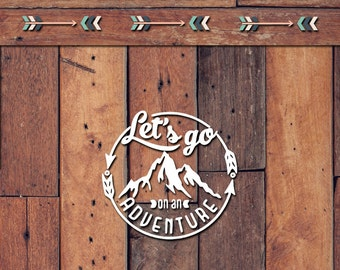 Let's Go On An Adventure Decal | Yeti Decal | Yeti Sticker | Tumbler Decal | Car Decal | Vinyl Decal