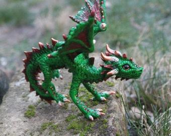 Forest Dragon Sculpture - green dragon figurine - rhaegal sculpture - targaryen dragon - forest animal - game of thrones dragon - drache