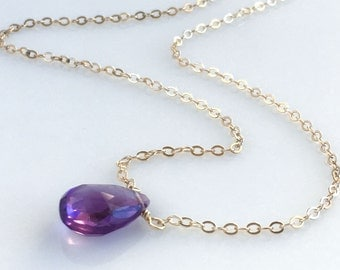 Amethyst Necklaces for Women - Birthstone Necklace February - Gold Amethyst Necklace - Also Avail Silver - Rose Gold