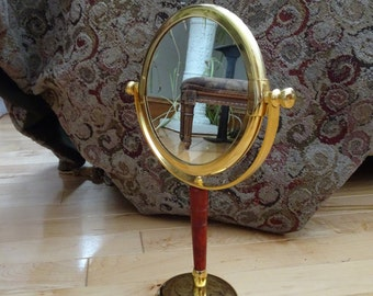 Vintage Standing Gold Tone Tilting Double Make Up Mirror | Lipstick Mirror | Small Vanity Makeup Mirror | Shabby Chic Bathroom Makeup Mirror