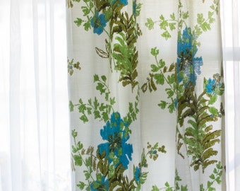 """Mid Century Floral Pinch Pleat Drapes/Curtains- 6 panels left - sold separately- each 24"""" X 82"""" - Vintage"""