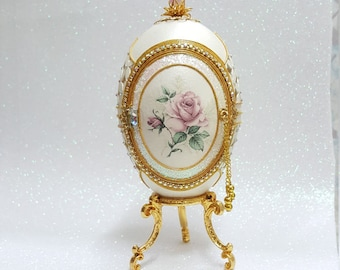 Decorated Goose Egg.  Handmade Faberge-like ornament.