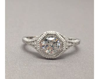 Filigree Art Deco Style 1.00 Ct. Fine Quality Cubic Zirconia Ring in Sterling Silver, Engagement Ring, Promise Ring, Anniversary Ring
