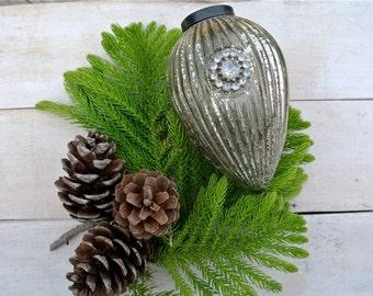 Vintage Kugel Style, Ribbed Glass Ornament, Mercury Glass Ornament, Silver Christmas Ornament, Rhinestone Ornament, Christmas Decoration