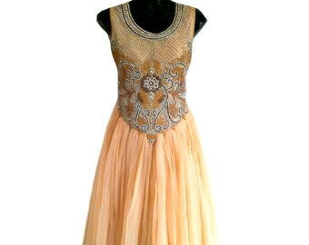 Crystal Embroidered Beaded Dress. Beige Indian Gypsy Dress, Long Prom Dress, Indian Wedding Reception Dress, Ethnic Evening Ball Gown, L