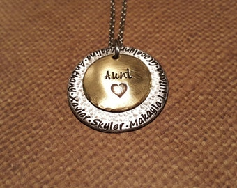 Stacking Multiple NAME necklace-AUNT with Brass-mixed metal