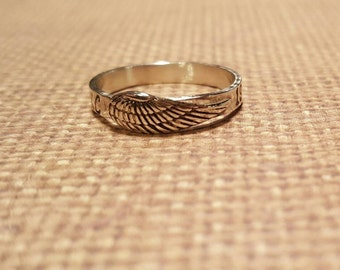 Angel WING ring with name or Initials/years in sterling SILVER