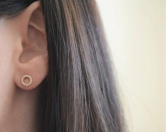 Eternity Stud Earrings. Sterling Silver Circle Earrings. Cz Eternity Studs. Small Eternity Earrings. 18K Gold Plated Silver Eternity Studs.
