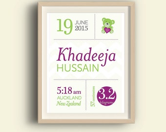 Personalised English birth print, baby nursery print, baby birth stats, custom birth announcement, Islamic birth info, Islamic name print.