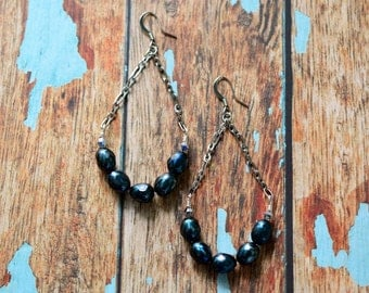 Czech Beaded Earrings, Dangle Earrings, Beaded Earrings, Dark Blue Earrings, Women's Earrings, Gift for her
