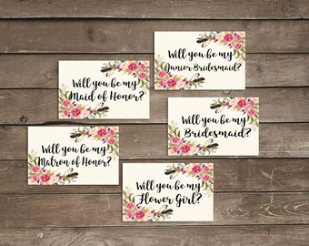 Will you be my matron of honor card will you be my maid of honor card maid of honor printable will you be my flower girl bridesmaid proposal