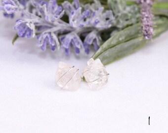 Quartz stud earrings,raw quartz studs,rough quartz studs,wire wrapped earrings,gemstone stud earrings,healing crystals,clear quartz earrin