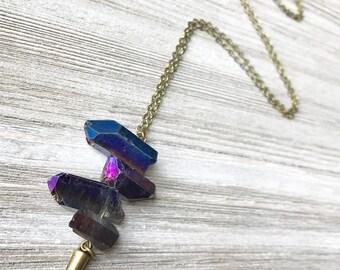 Purple Quartz Pendant Necklace // Long Necklace // Bohemian Necklace // Raw Crystal Necklace // Unique Necklace // Edgy Necklace
