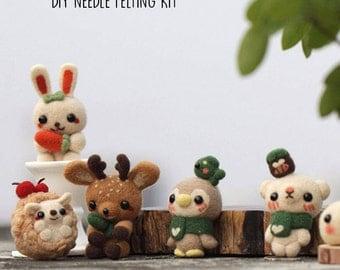 Animals DIY Needle Felting Kit, Teacup Bear, Deer, Porcupine, DIY Craft Set, Gift Set