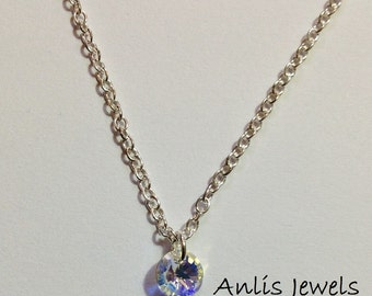 Necklace Chain sterling silver 925 italian with Swarovski crystal in Clear Aurora Borealis (AB)